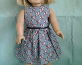 Red White and Blue Dress with Bows / Doll Clothes fits American Girl doll or other 18 inch doll