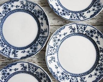Set of Antique Flow Blue Plates, Plates & Bowls, Wall Art, Country Decor, Ridgways Royal Semi Porcelain, Lichfield