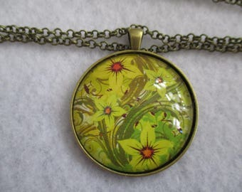 Bright Green Yellow FLOWERS Cabochon PENDANT Necklace