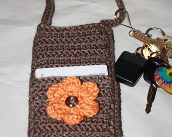 Cell phone holder - cell phone purse - cross body purse - cell phone pouch - crochet cell phone bag
