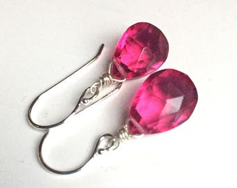 Raspberry Drops Earrings, Sterling, Pink gemstone earrings, bright pink earrings, dangle earrings, bridesmaid gift