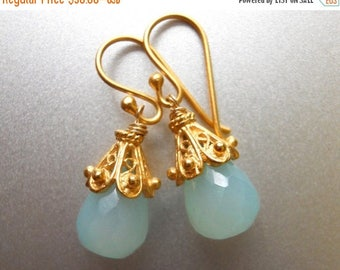 XMAS IN JULY 20% off, Aqua Drop Earrings, Aqua Chalcedony Earrings, Just a Drop Earrings, Drop Earrings, gold vermeil earrings