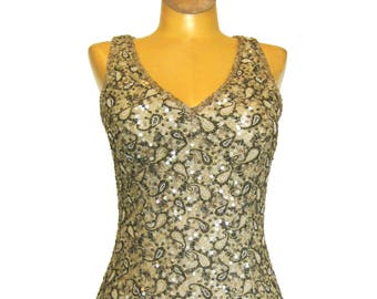 Adrianna PAPELL EVENING Dress / Sexy Marilyn Bombshell Dress / Floor Length Beaded Silk Holiday Gown / Paisley Print Beads Sequins / 36 Bust