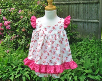 Toddler girl, Top and shorts set, Size 2T, Pink cherry blossoms, Pink polka dot, Sleeveless swing top, 2 piece outfit, Summer, Playtime,