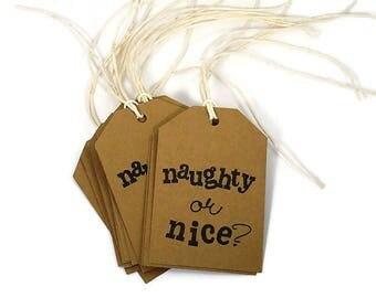 Paper Gift Tags in Kraft Set of 30 Naughty or Nice with Twine
