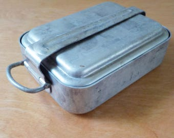 Vintage Faymont Camp Mess Kit • Camping Backpacking Cookware • 3 Piece Square Mess Kit