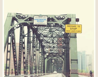 Portland photography, Hawthorne Bridge photo, Oregon travel, bicyclists, mint green, Williamette River, PNW art print