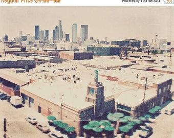 SALE Los Angeles photography, Urth Caffe, urban landscape downtown cityscape LA skyline industrial travel, Arts District, loft decor
