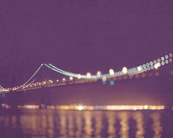large wall art, San Francisco night photography, Bay Bridge, purple plum, gold lights bokeh sparkle twinkle vacation California romantic