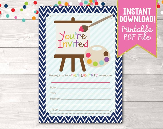 Fill In Art Painting Party Invitations Printable Kids Birthday – Printable Kids Birthday Party Invitations
