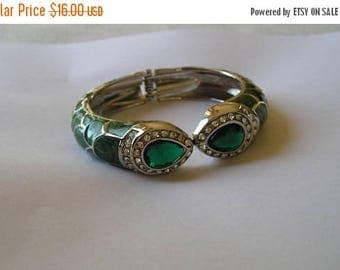 ON SALE Green Enamel Rhinestone & Green Lucite Clamper Bangle Bracelet