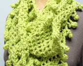Crochet Infinity Scarf Fancy Bobble Edge in Bright Green