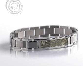 Space Bracelet With El Hammami Meteorite, Steel Bracelet Set, Stainless Steel Jewelry, Modular Bracelet