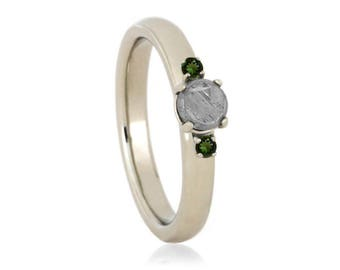 Faceted Meteorite Engagement Ring With Moldavite Accents, Three Stone Ring in 10k White Gold, Gemstone Engagement Ring