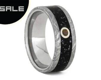 SALE - Black Opal Wedding Ring, Meteorite Ring With Black Stardust, Titanium Engagement Ring or Wedding Anniversary Ring