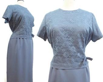 REDUCED Vintage 50s 60s Dress Periwinkle Blue Lace Crepe Bridal Cocktail XXL Plus Size