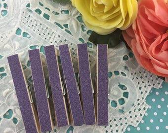 Purple Glitter Magnetic Clothespins Set of 6