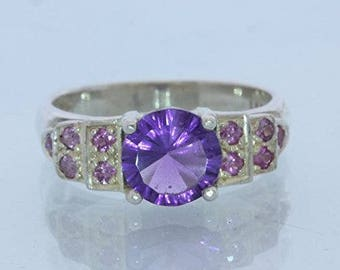 Purple Amethyst and Pink Sapphire Handmade Sterling Silver Ladies Ring size 8.25