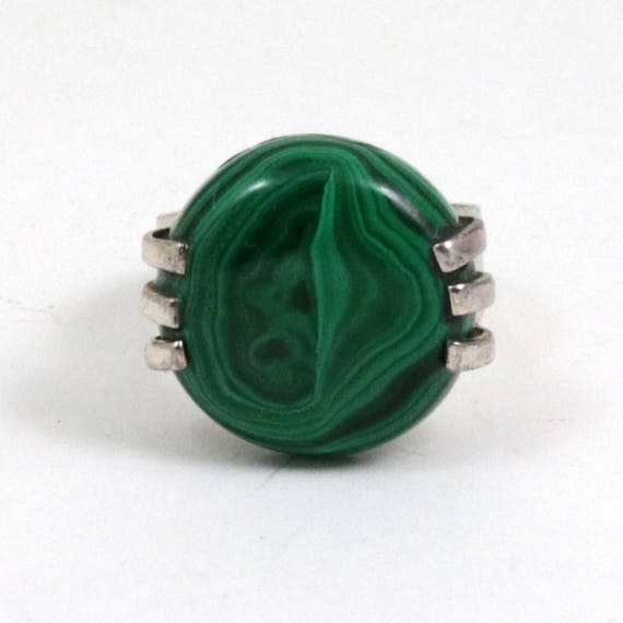 Vintage 925 Sterling Silver Malachite Ring