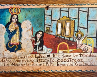 Vintage Mexico Ex-Voto, Retablo, Oil Painting on Tin Folk Art