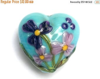 ON SALE 35% OFF Kiley's Bouquet Heart Focal Bead 11834305 - Handmade Glass Lampwork Bead