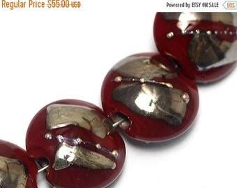 ON SALE 30% off Seven Regal Red Metallic Lentil Beads-10704202-Handmade Lampwork Glass