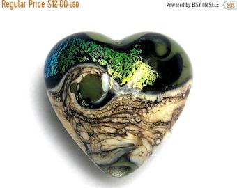 ON SALE 30% off Olivine Heart Focal Bead -11834205- Handmade Glass Lampwork Beads