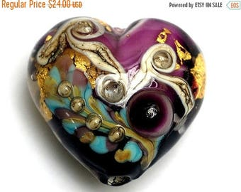 ON SALE 30% off 11818525 Amethyst Treasure Heart (Large) - Handmade Glass Lampwork Bead