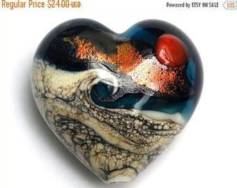 ON SALE 30% off Romantic Isle Waves Heart (Large) 11833725 - Handmade Glass Lampwork Bead