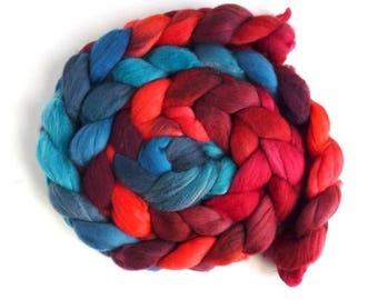 Rambouillet Wool Roving - Hand Painted Spinning or Felting Fiber, Dazzling Contrast