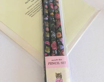 Nathalie Lete -  Pencil Set - Artist Gift - Draw Something - Set of 3 - Cat & Flower