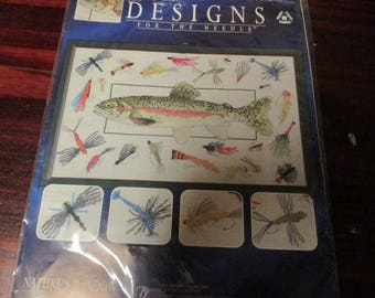 Trout & Flies Designs for the Needle 5422 Counted Cross Stitch Kit Sealed and Ready to Stitch