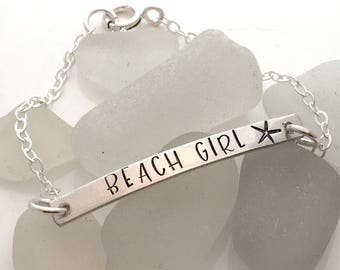 Bar Braceket - Beach Girl Bracelet - Hand Stamped Bracelet - starfish bracelet - sea star jewelry - gift for her - beach jewelry