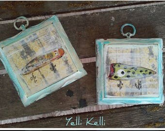 Rustic Fishing Lures Hand Painted on Vintage Wood Plaque Set of Two YelliKelli