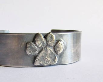 Dog Paw Cuff Bracelet - Dog Memorial Jewelry - Dog Lovers Jewelry - Birthday Gift - 25th Anniversary Gift - Puppy Paw Jewelry
