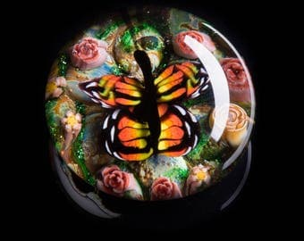 Artisan Orange Butterfly Lampworked Flamework Glass Paperweight