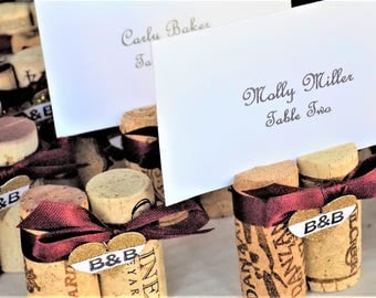 Wine Cork Place Card Holder Gold Glitter Heart Your Initials & Color Ribbon Wedding Reception Photo Holder Party Favor