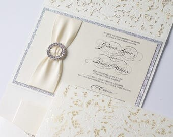 Elegant Glitter Wedding Invitation | Laser Cut Pocketfolder | Lace Wedding Invitation | Ivory and Silver Glitter | Vintage | GRACIE Sample