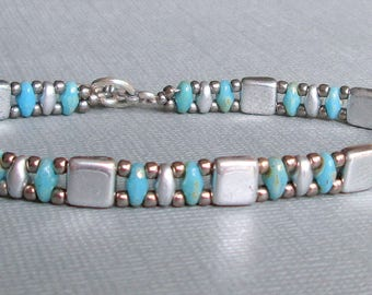 silver turquoise bracelet native american jewelry bead bracelet boho bracelet gift for her seed bead bracelet turquoise jewelry