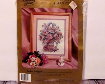 """Counted Cross Stitch """"Basket Bouquet"""" Kit"""