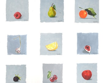 Fruit Oil Paintings - Series of 9 Botanical Small Paintings on Paper Still Life Art Wall Hanging Grouping