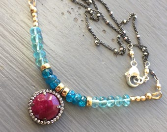 Ruby Bezel Bar Necklace Holiday Necklace Holiday Jewelry Festive Jewelry