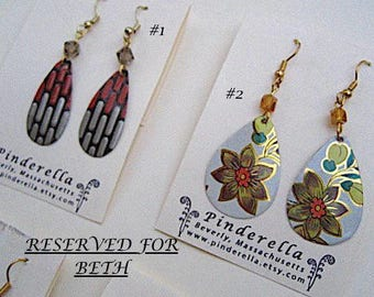 RESERVED for BETH 4 pairs of Bohemian Vintage Tin Earrings