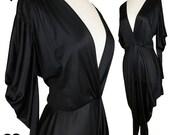 Vintage 80s Jumpsuit / 90s Jumpsuit / Vintage Black Jumpsuit / Plunging Jumpsuit / XL XXL 1X 2X Plus Size Glam Bombshell Sexy Draped Party