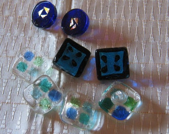 Eight Fused Glass Buttons