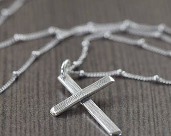 Mens necklace Cross necklace sterling silver cross necklace crucifix necklace unisex cross necklace wood grain jewelry