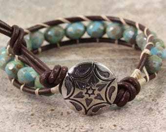 Brown Wrap Bracelet Western Bracelet Bohemian Jewelry Blue Beaded Bracelet Boho Jewelry Leather Wrap Bracelet for Women Hippie Jewelry