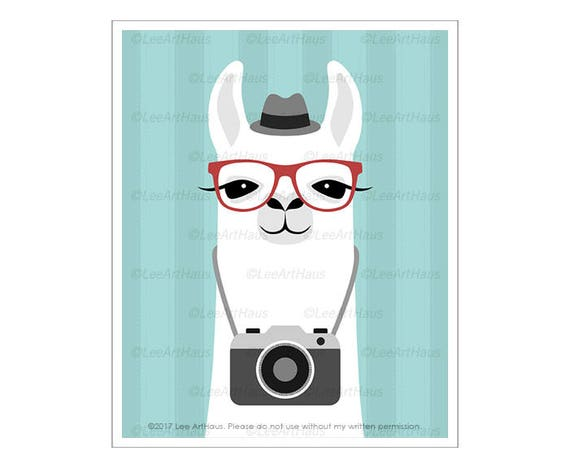 51J Camera Print - White Llama with Camera Wall Art - Photographer Gift - Vintage Camera Decor - Camera Illustration - Modern Kids Art