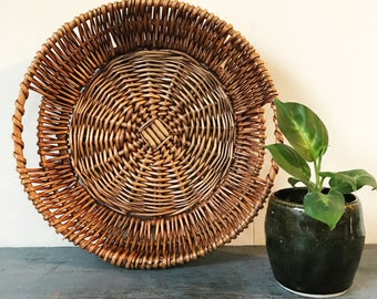 woven rattan tray with handles - round brown wicker wall basket - boho decor