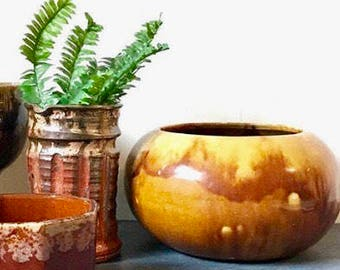 vintage drip glaze ceramic planter - large round mustard brown planter - boho decor